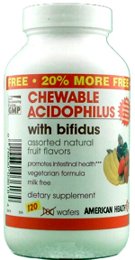 Chewable Acidophilus with Bifidus, Assorted Natural Fruit Flavors 120 wafers (20% more free): K
