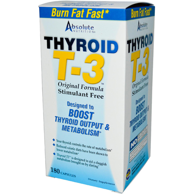 Absolute Nutrition Thyroid T-3 - 180 Capsules: HF