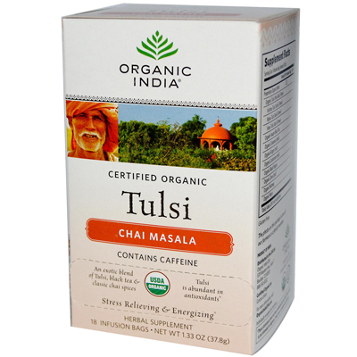 Organic India Tulsi Tea Chai Masala - 18 Tea Bags - Case of 6: HF