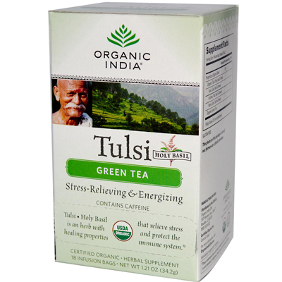 Organic India Tulsi Tea Green Tea - 18 Tea Bags - Case of 6: HF