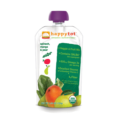 Happy Baby HappyTot Organic Superfoods Spinach Mango and Pear - 4.22 oz - Case of 16: HF
