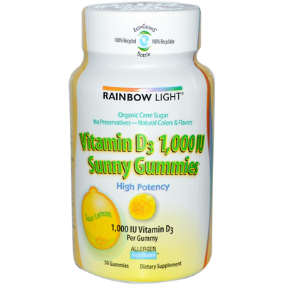 Rainbow Light Vitamin D Sunny Gummies Sour Lemon - 1000 IU - 50 Gummies: HF