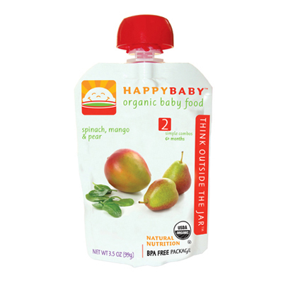 Happy Baby Organic Baby Food Stage 2 Spinach Mango and Pear - 3.5 oz - Case of 16: HF