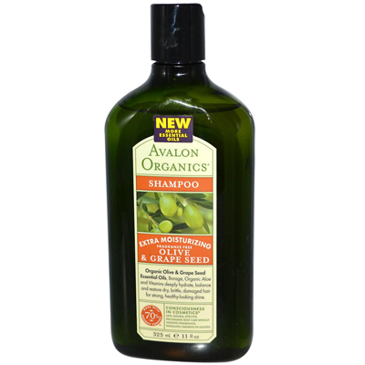 Avalon Organics Moisturizing Shampoo Olive and Grape Seed Fragrance Free - 11 fl oz: HF