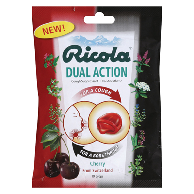 Ricola Dual Action Cough Drops - Cherry - Case of 12 - 19 Pack: HF