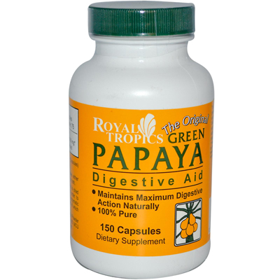 Royal Tropics The Original Green Papaya Digestive Aid - 150 Capsules: HF