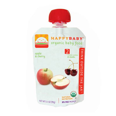 Happy Baby Organic Baby Food Stage 2 Apple and Cherry - 3.5 oz - Case of 16: HF
