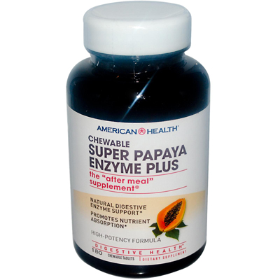 American Health Super Papaya Enzyme Plus Chewable - 180 Chewable Tablets: HF