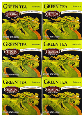Celestial Seasonings Authentic Green Tea - Case of 6 - 20 Bags: HF