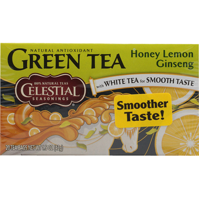 Celestial Seasonings Green Tea Honey Lemon Ginseng with White Tea - 20 Tea Bags - Case of 6: HF