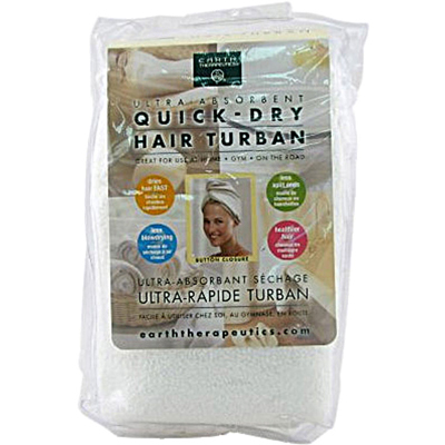 Earth Therapeutics Quick Dry Hair Turban Ultra-Absorbent - 1 Cloth: HF