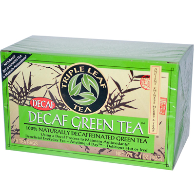 Triple Leaf Tea Decaffeinated Green Tea - 20 Tea Bags - Case of 6: HF