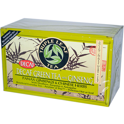 Triple Leaf Tea Green Tea with Ginseng - Decaffeinated - Case of 6 - 20 Bags: HF
