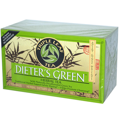 Triple Leaf Tea Dieters Decaffeinated Green Tea - 20 Tea Bags - Case of 6: HF