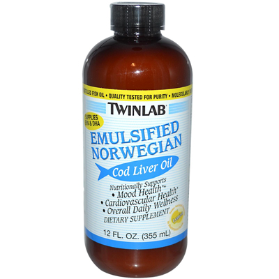 Twinlab Emulsified Norwegian Cod Liver Oil Lemon - 12 fl oz: HF