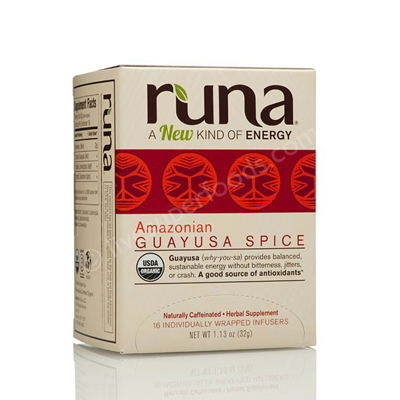 Runa Tea Organic Cinnamon Lemongrass Guayusa Tea - Case of 6 - 16 Bags: HF