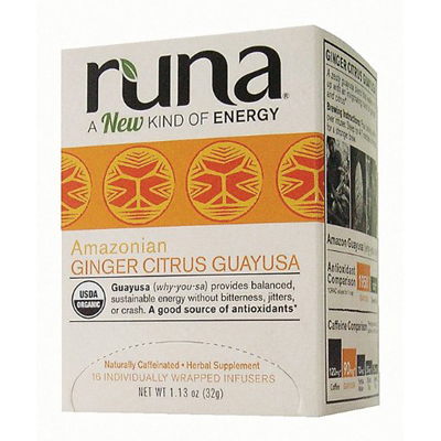 Runa Tea Organic Ginger Centers Guayusa Tea - Case of 6 - 16 Bags: HF
