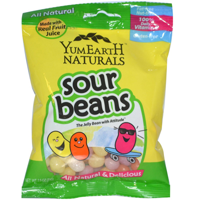 Yummy Earth Naturals Sour Beans - Case of 12 - 2.5 oz: HF