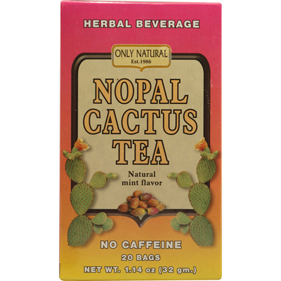 Only Natural Nopal Cactus Tea Caffeine Free Natural Mint - 20 Tea Bags: HF