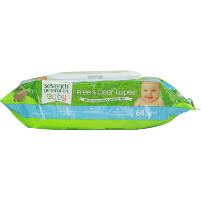 Seventh Generation Free and Clear Wipes Unscented - 64 Wipes - Case of 12: HF