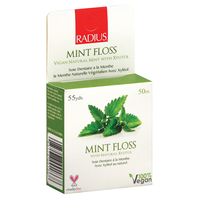 Radius Mint Floss with Natural Xylitol - 55 yards - Case of 6: HF
