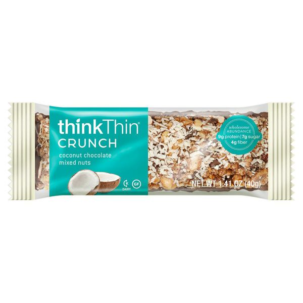 Think Products thinkThin Crunch Bar - Crunch Coconut Chocolate Mixed Nuts - 1.41 oz - Case of 10: HF