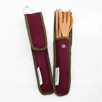 To-Go Ware Bamboo Utensil Set - Merlot - 4 Piece: HF