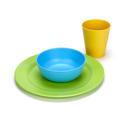Green Toys Green Eats Tabletop Set (Tumbler, Bowl, Plate): HF