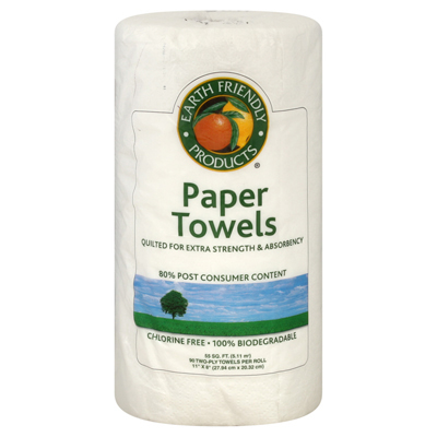Earth Friendly Jumbo White Paper Towels 2 Ply - 1 Roll: HF