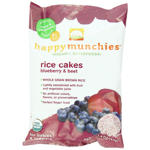 Happy Baby Happy Munchies Rice Cakes - Organic Blueberry and Beet - 1.4 oz - Case of 10: HF