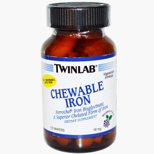 Twinlab Chewable Iron - Blackberry - 18 mg - 100 Wafers: HF