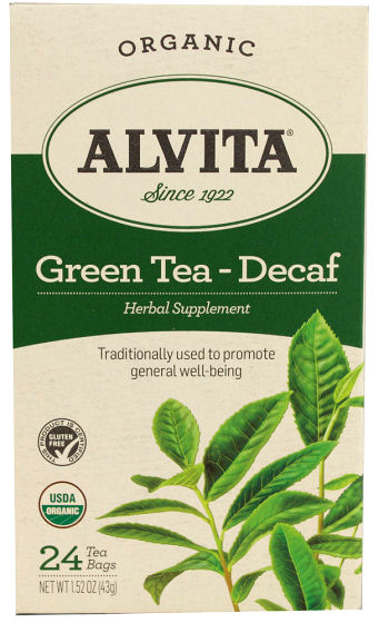 Alvita Organic Green Tea Herbal Supplement - Decaf - 24 Tea Bags: HF