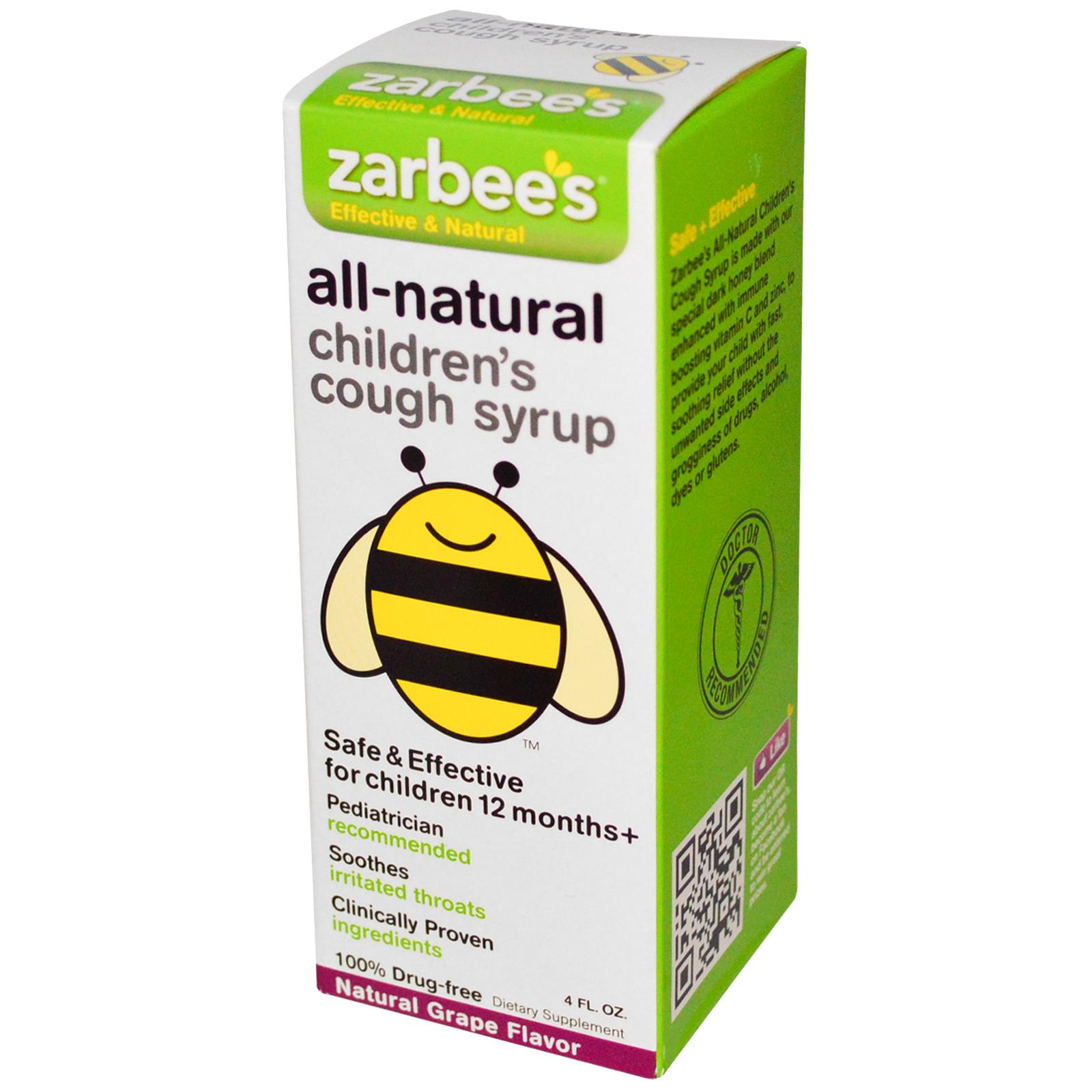 Zarbee's All Natural Children's Cough Syrup - Grape - 4 oz: HF