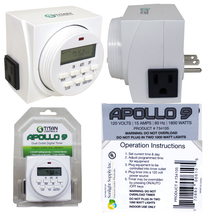 Apollo 9 Dual Outlet Digital Timer 120v: HY