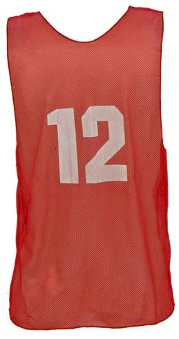 Numbered Youth Micro Mesh Vests - Red: SP