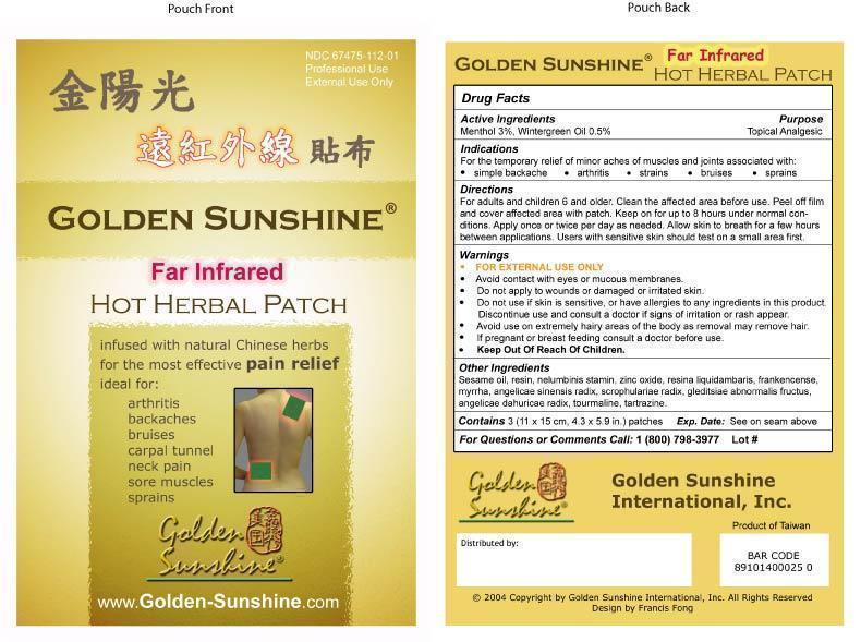 Golden Sunshine Brand (Far Infrared Hot Patch - Yellow) 3 pieces (4.3