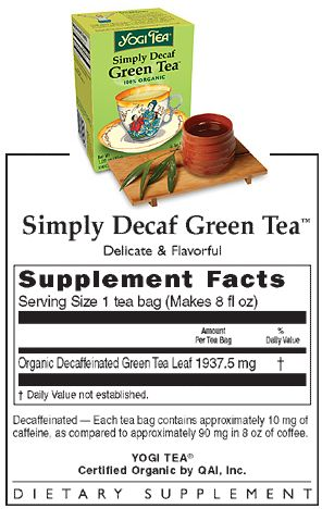 Simply Decaf Green Tea 16 tea bags: K