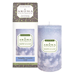 Aroma Naturals Naturally Blended Candle Tranquility (Periwinkle) 2 3/4'' x 5'' Pillar 70 hours burn time: K