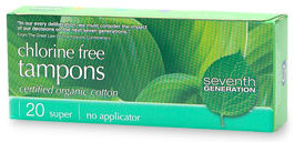 Chlorine Free Tampons Non-Applicator Super 20 count: K