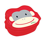 "Back to School Monkey,  Red Bento Boxes 6"" x 4 3/4"" x 2 3/4"": K"