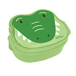 "Back to School Alligator,  Green Bento Boxes 6"" x 4 3/4"" x 2 3/4"": K"